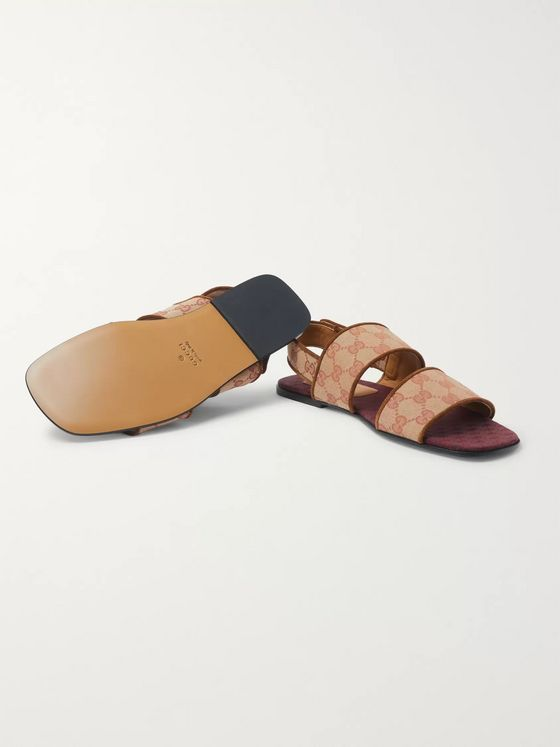 Gucci Suede-Trimmed Monogrammed Canvas Sandals