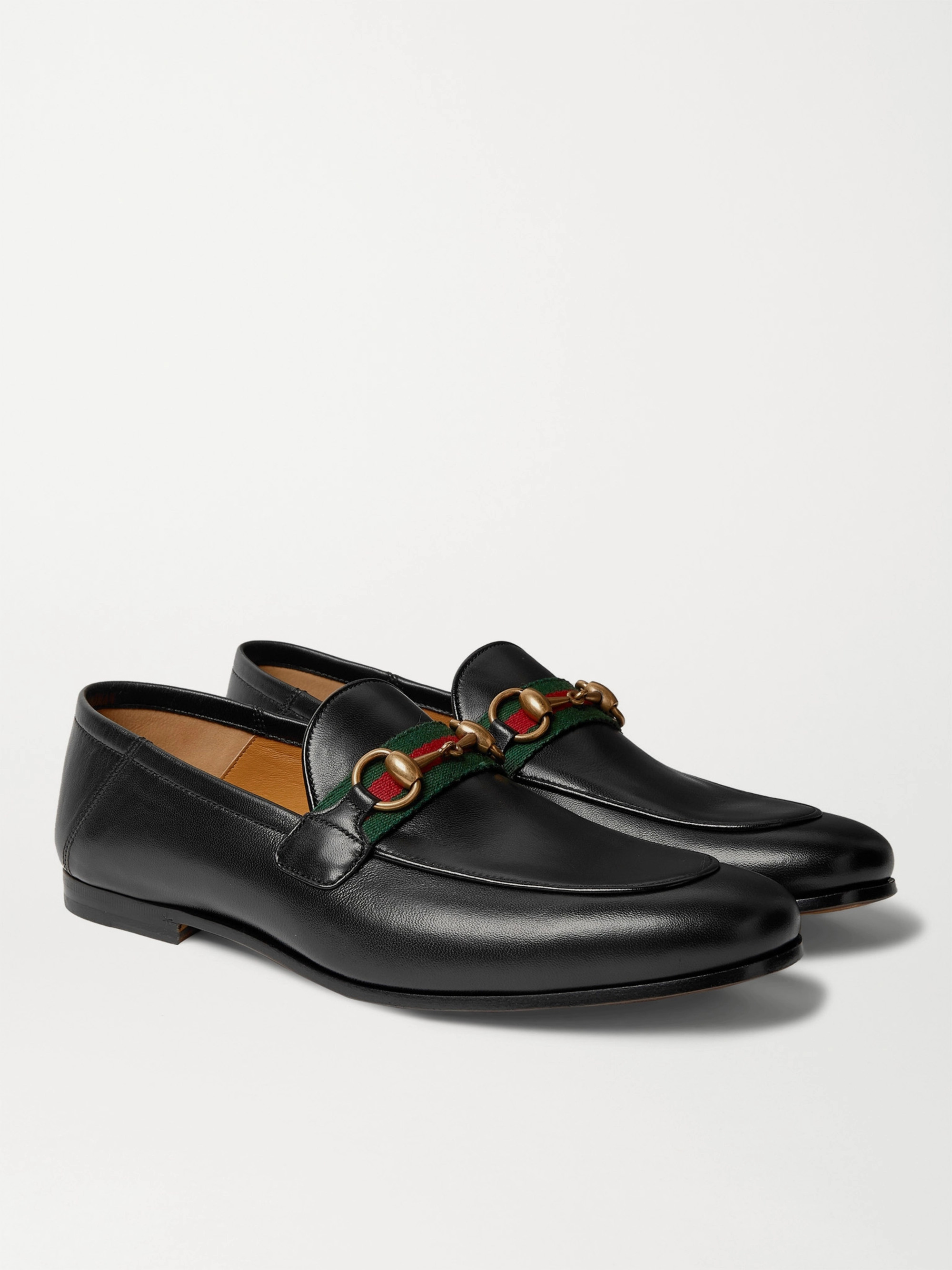 017a45498 Gucci Brixton Webbing-Trimmed Horsebit Collapsible-Heel Leather Loafers
