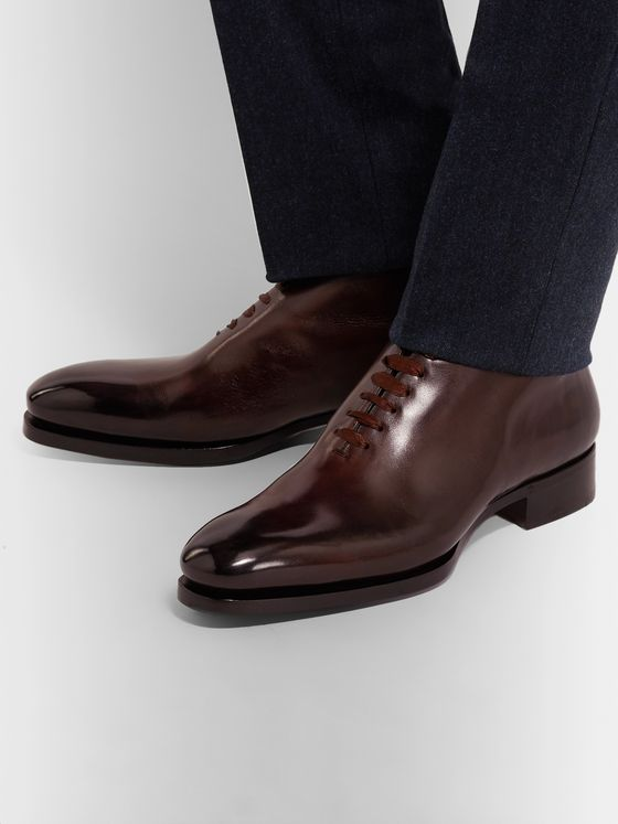 Santoni Uniqua Zero-Cut Leather Oxford Boots