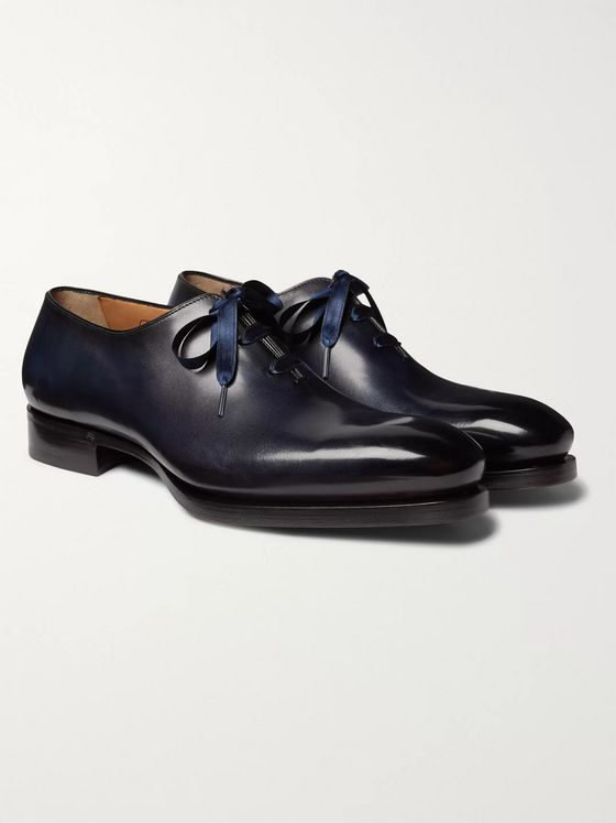 Santoni Uniqua Zero-Cut Leather Oxford Shoes