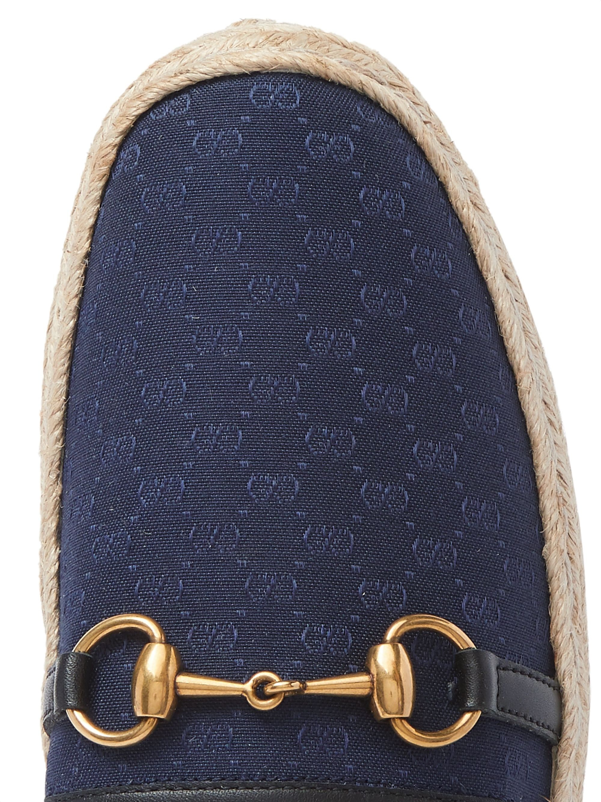 Gucci Horsebit Leather-Trimmed Logo-Jacquard Canvas Espadrilles