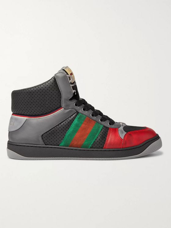 GUCCI Screener Webbing-Trimmed Distressed Leather High-Top Sneakers