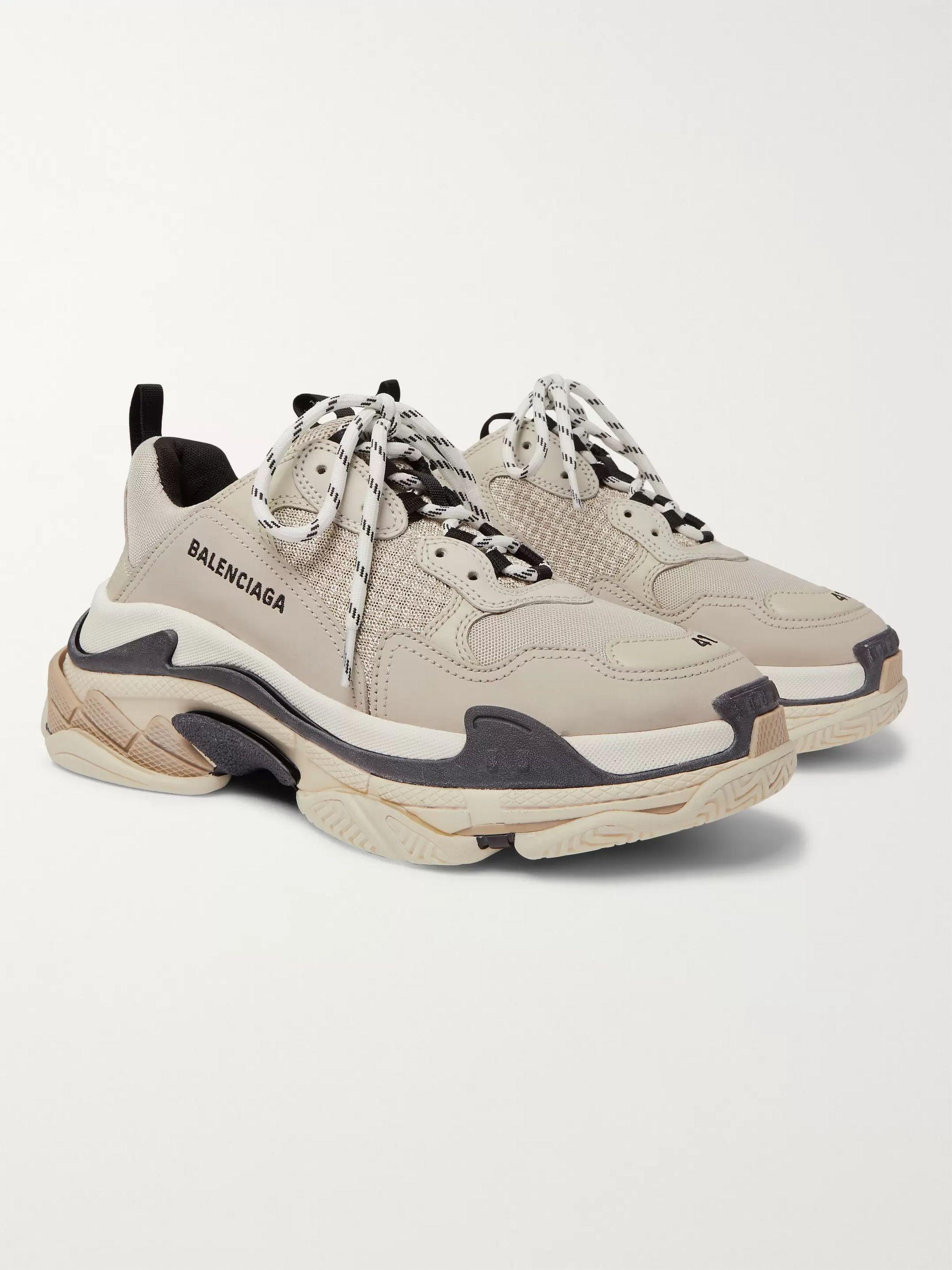 발렌시아가 Balenciaga Triple S Mesh Nubuck and Leather Sneakers,Beige