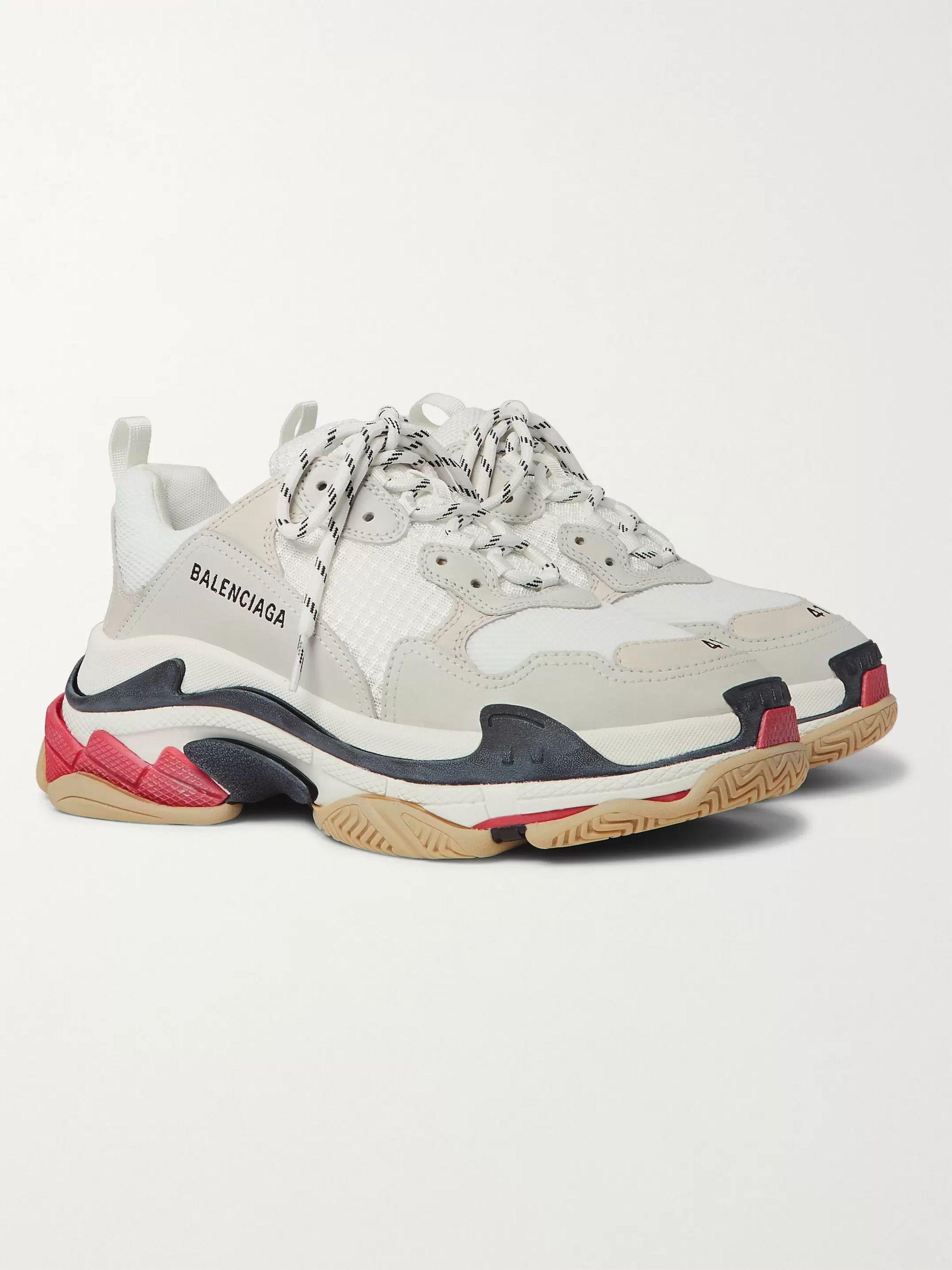 발렌시아가 Balenciaga Triple S Mesh Nubuck and Leather Sneakers,White