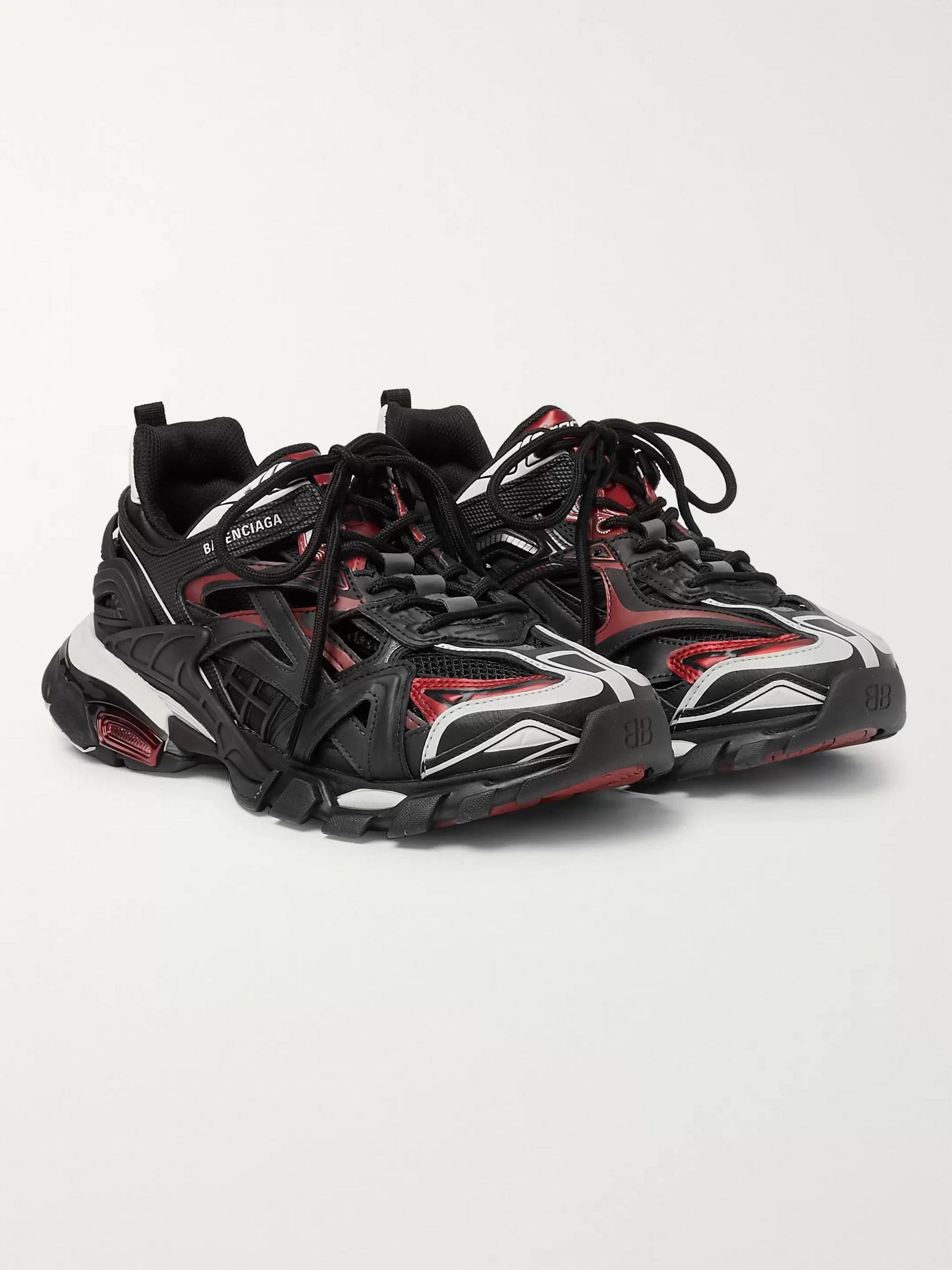 Black Track 2 Nylon Mesh And Rubber Sneakers Balenciaga Mr Porter