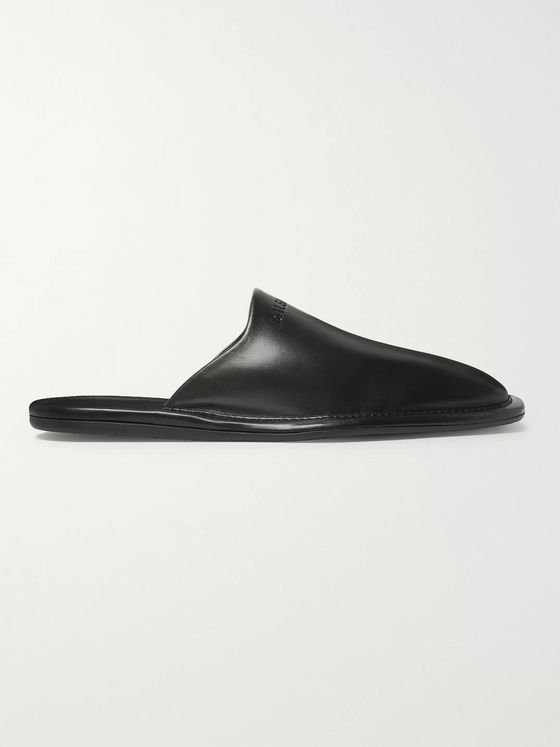 Balenciaga Logo-Debossed Leather Backless Loafers