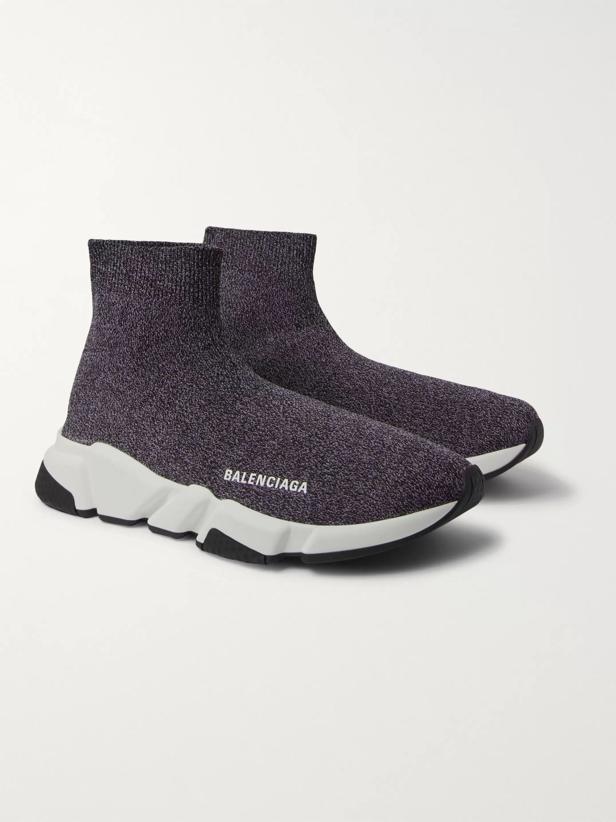 Gray Speed Sock Stretch-Knit Slip-On Sneakers | Balenciaga | MR PORTER