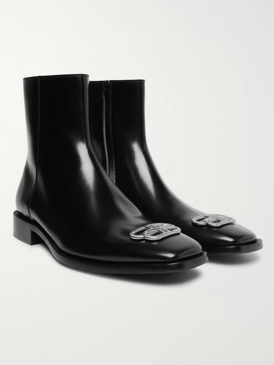 Balenciaga Rim BB Appliquéd Leather Chelsea Boots