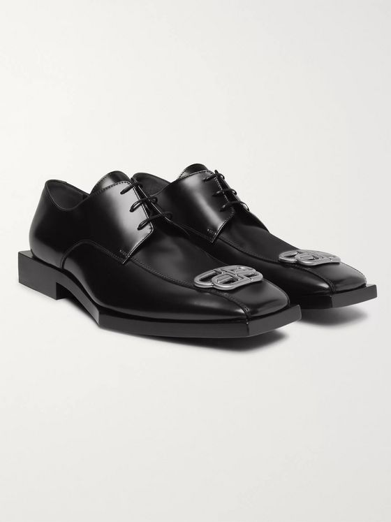 Balenciaga Bloc Rim Logo-Embellished Leather Derby Shoes