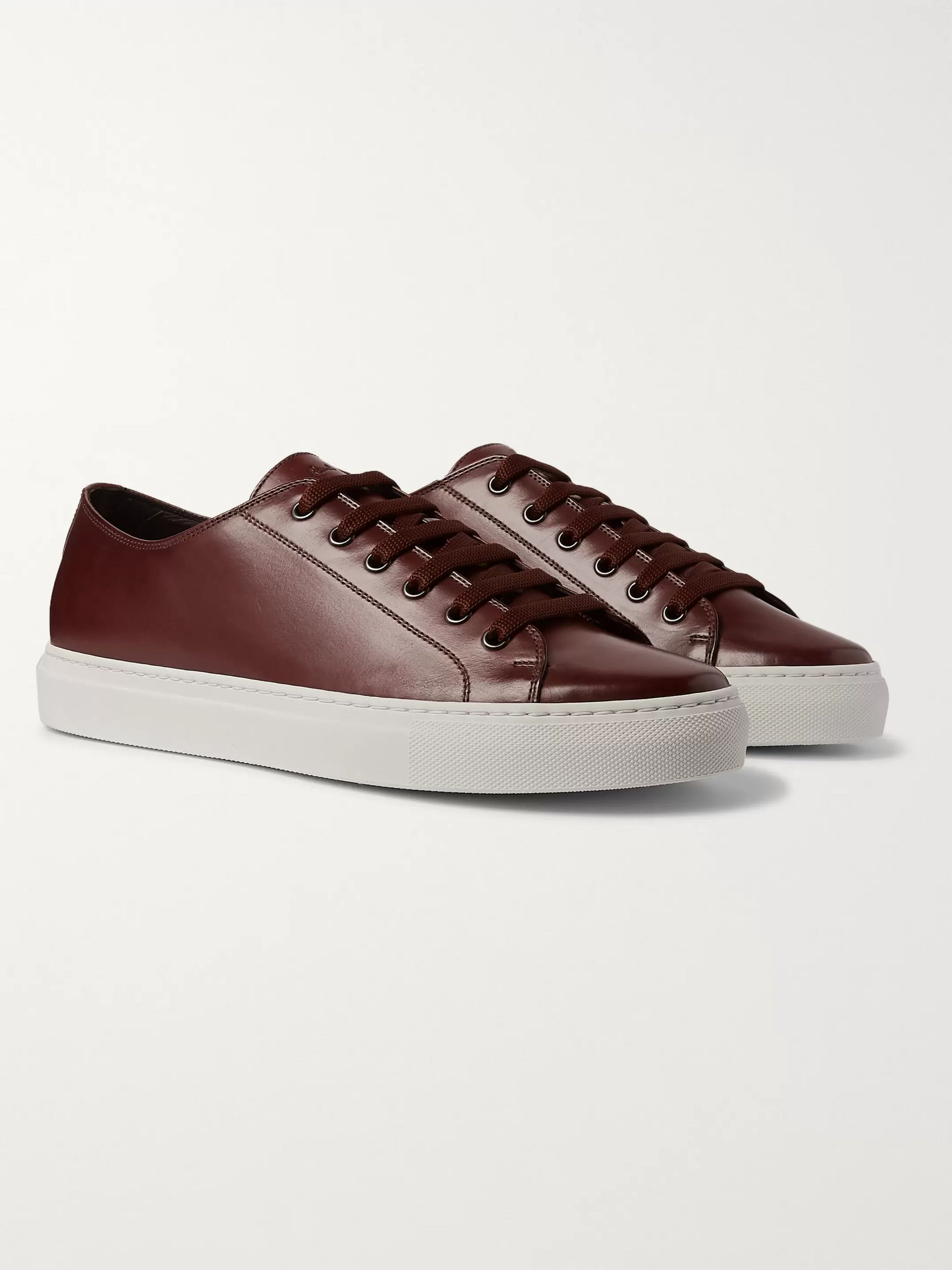 Sotto Burnished Leather Sneakers by Paul Smith