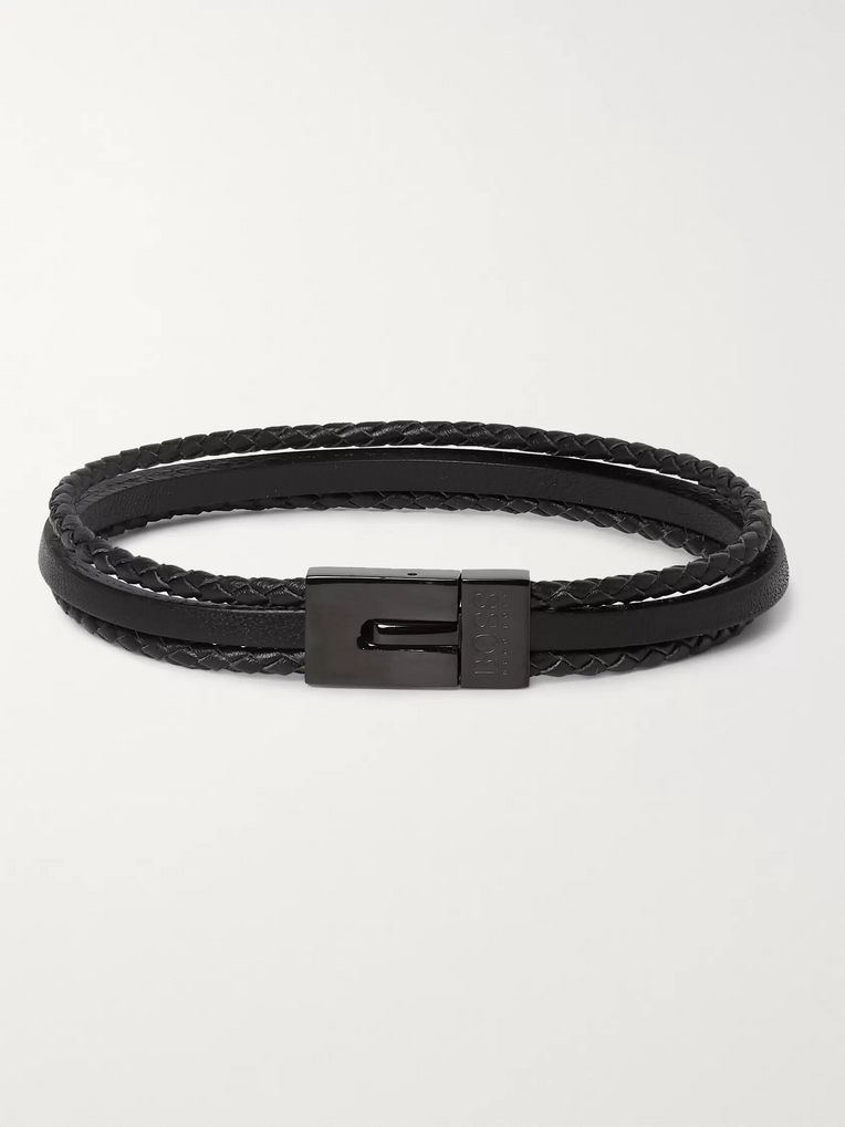 Hugo Boss Baylor Woven and Smooth Leather Wrap Bracelet