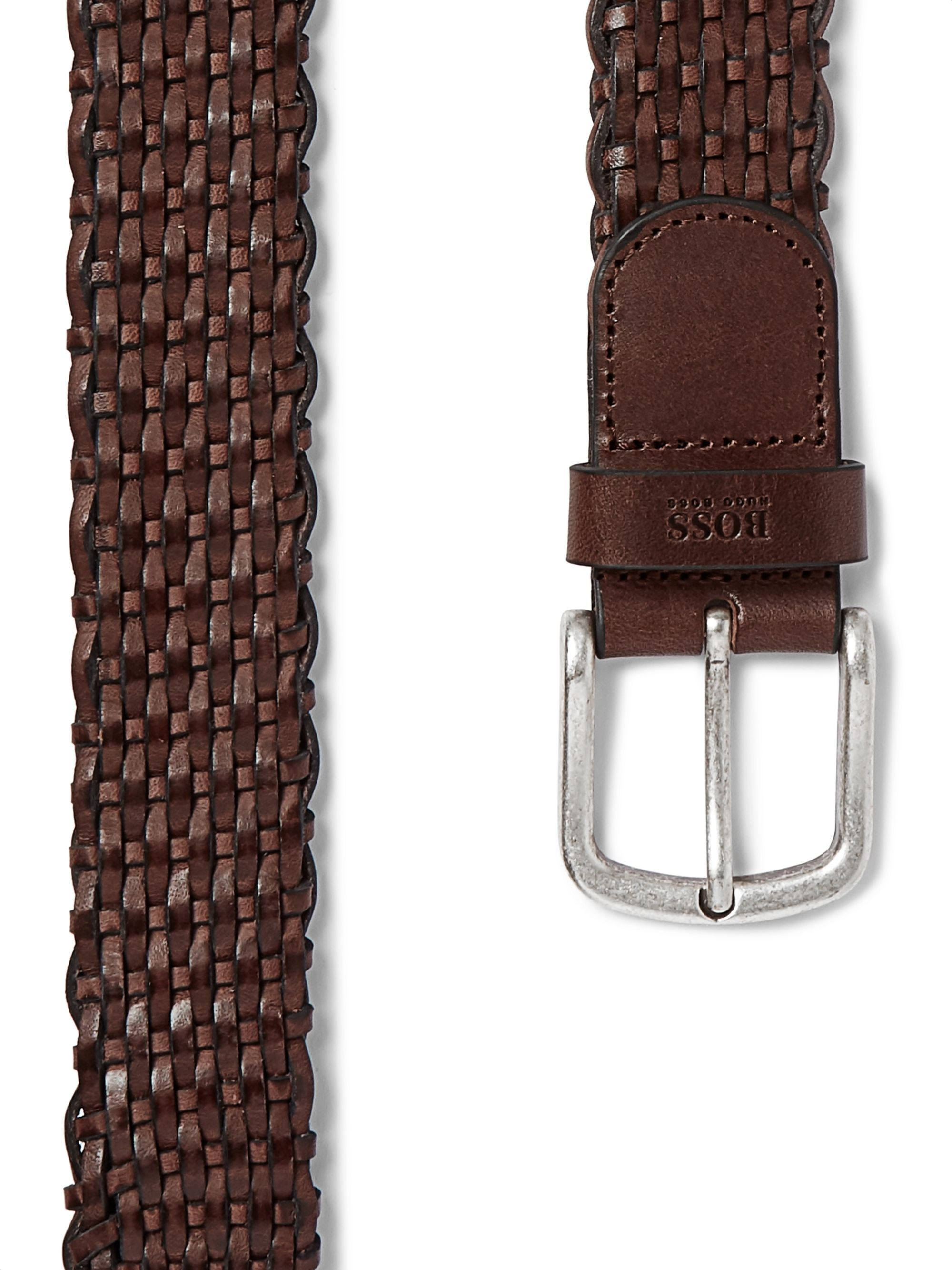 Hugo Boss 3.5cm Dark-Brown Woven Leather Belt
