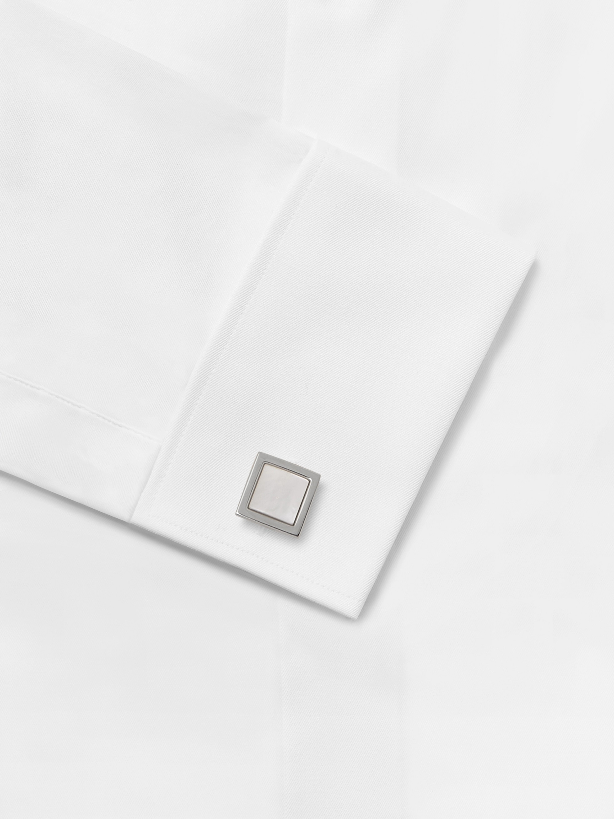 Hugo Boss Silver-Tone Mother-of-Pearl Cufflinks