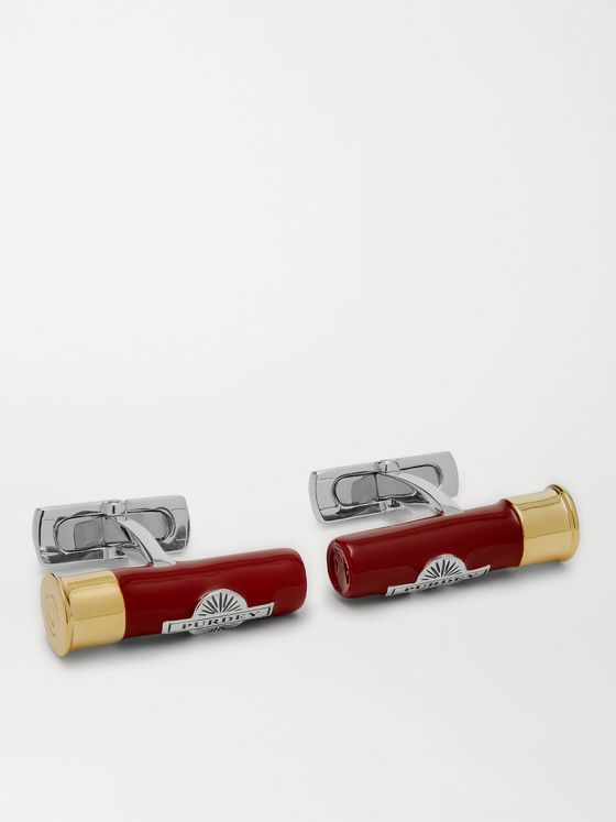 James Purdey & Sons Cartridge Sterling Silver, Gold-Plated and Enamel Cufflinks