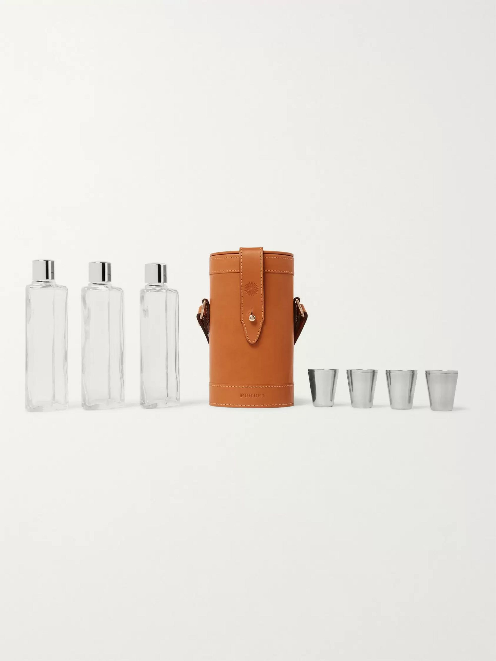 PURDEY Leather and Glass Flask Set