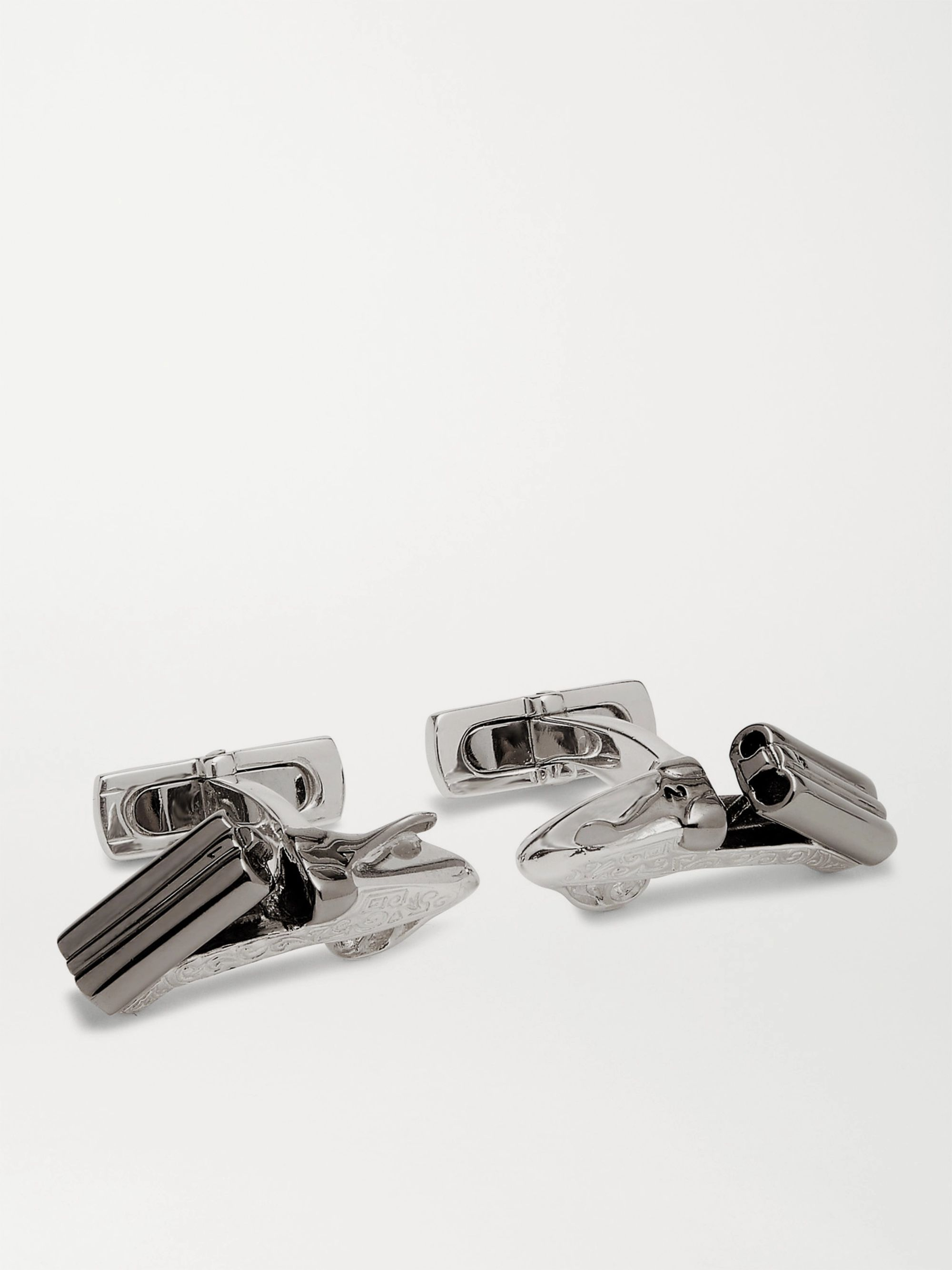 Purdey Side-By-Side Engraved Sterling Silver Cufflinks