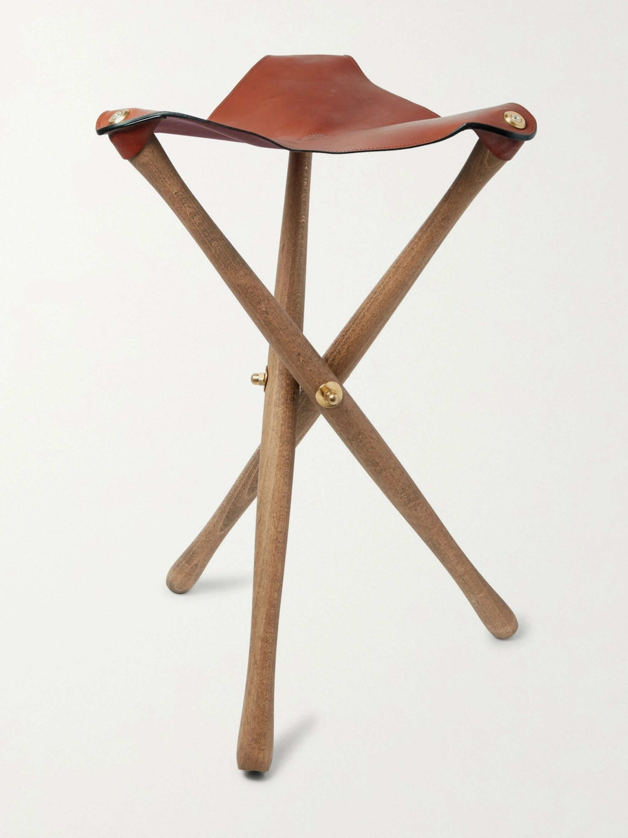 James Purdey & Sons Oak and Leather Tripod Seat