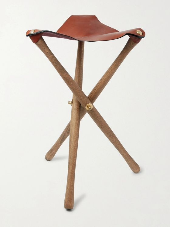 PURDEY Oak and Leather Tripod Seat