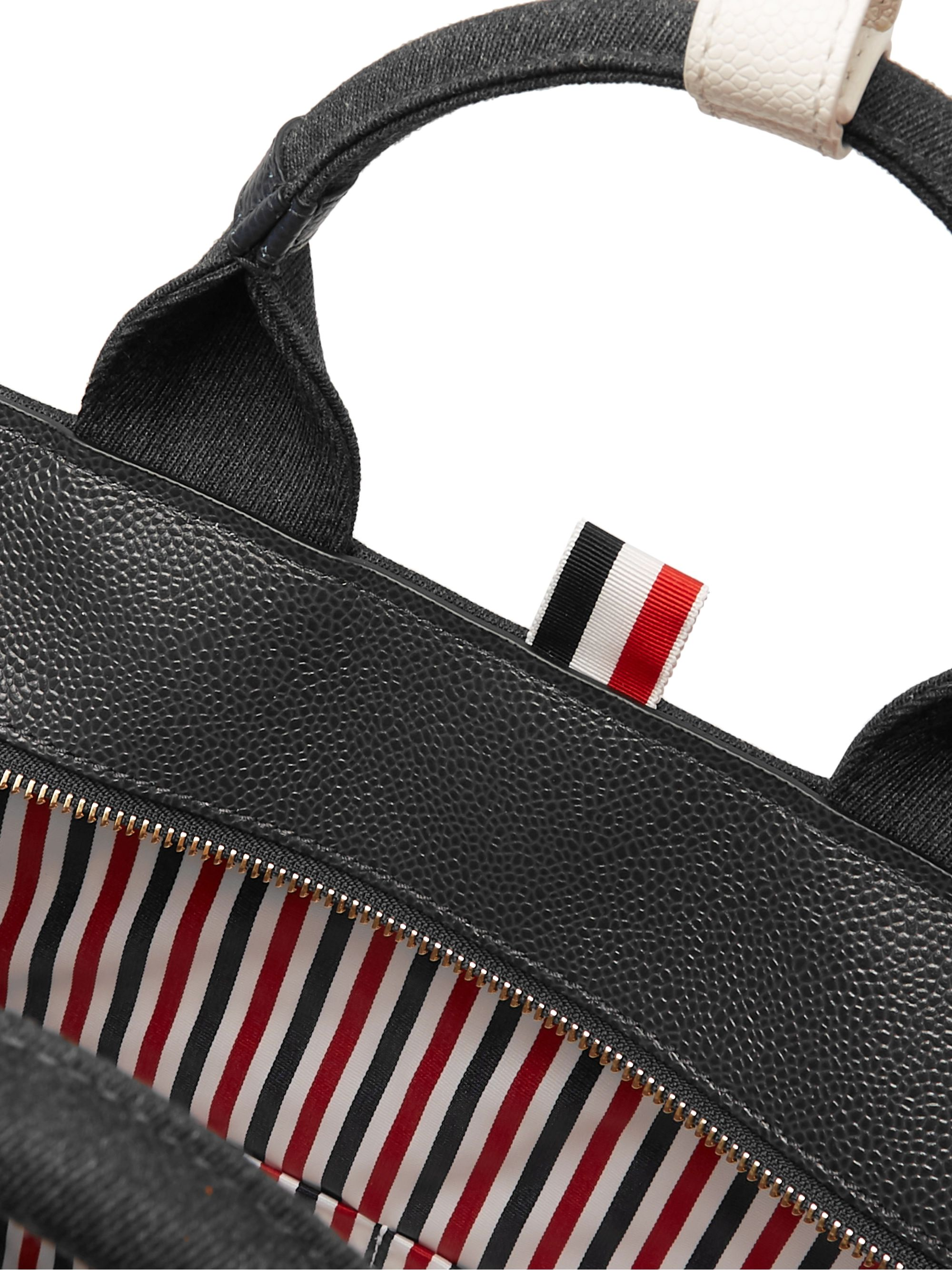 Thom Browne Pebble-Grain Leather-Trimmed Mélange Twill Tote Bag