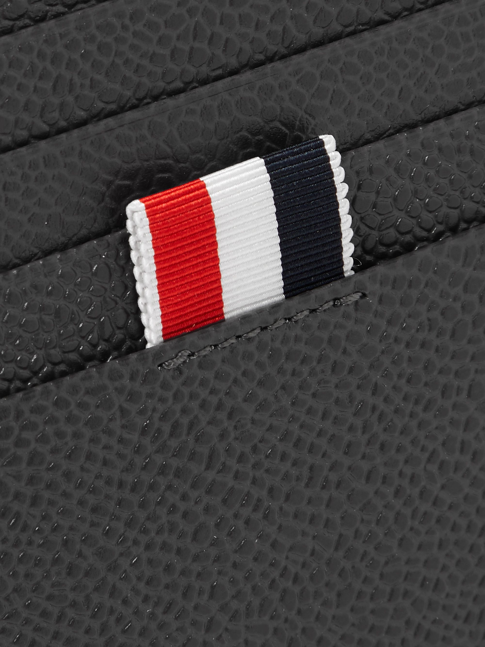 Thom Browne Logo-Print Pebble-Grain Leather Cardholder