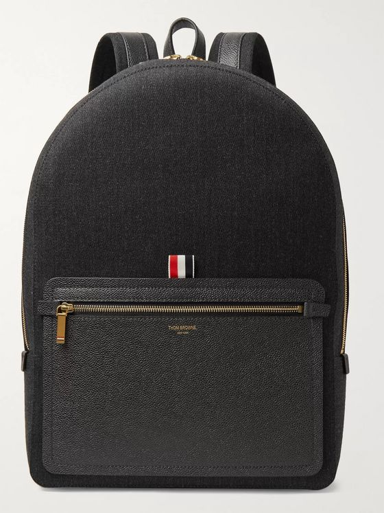 Thom Browne Pebble-Grain Leather-Trimmed Mélange Twill Backpack