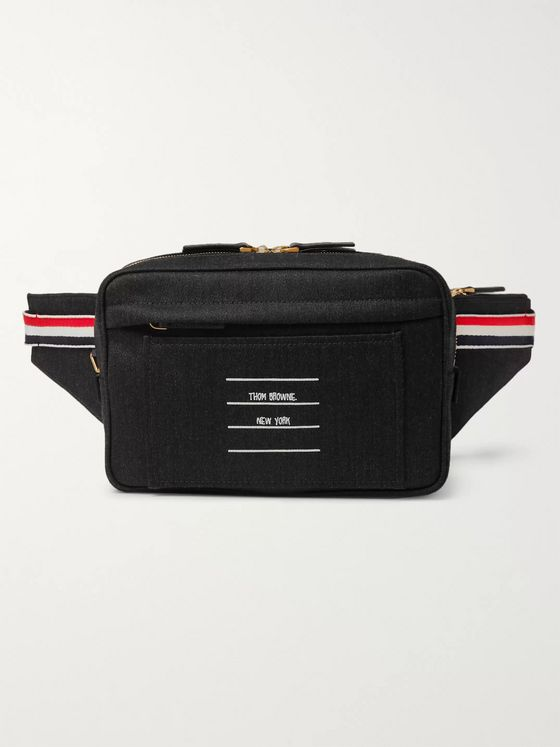 Thom Browne Leather-Trimmed Twill Belt Bag