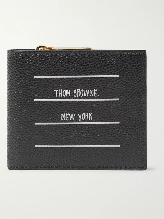 Thom Browne Logo-Print Pebble-Grain Leather Billfold Wallet