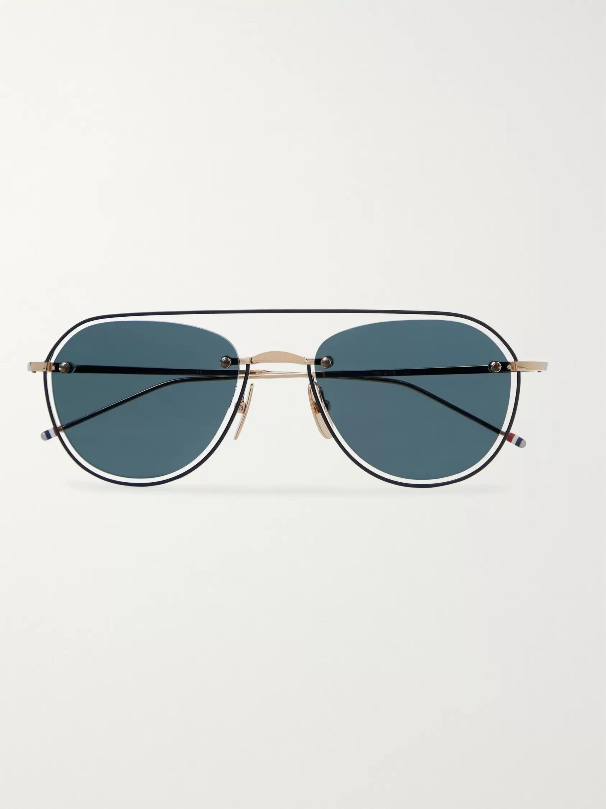 Thom Browne Round-Frame Gold-Tone and Enamel Sunglasses
