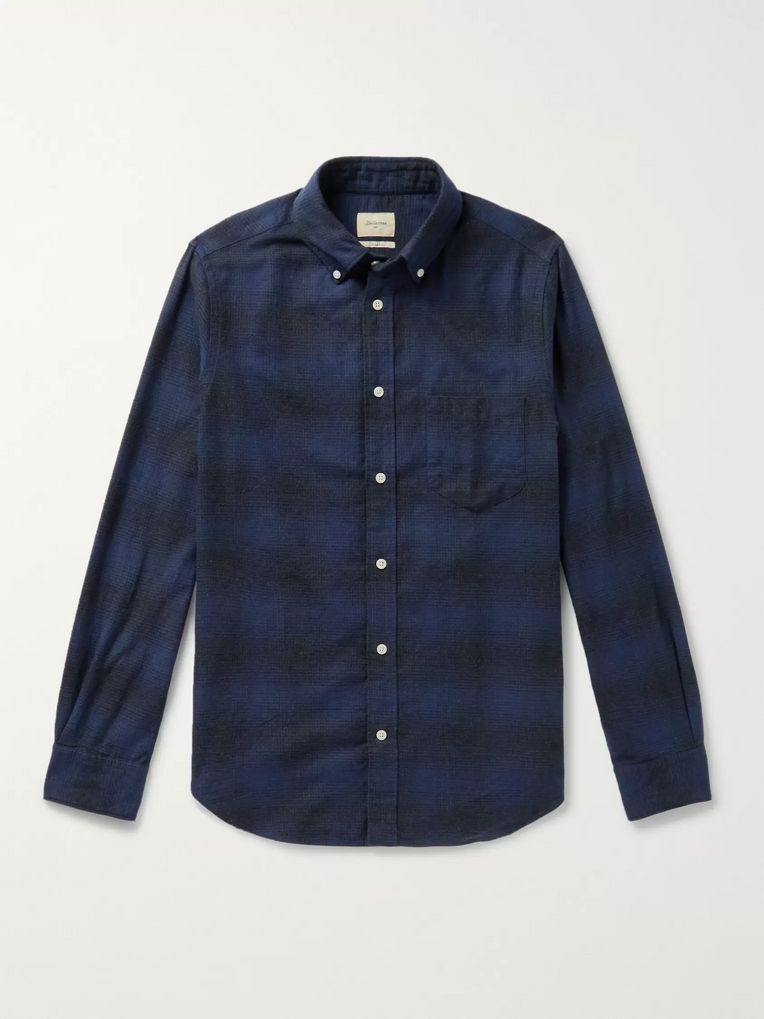 Bellerose Mire Button-Down Collar Checked Cotton-Flannel Shirt