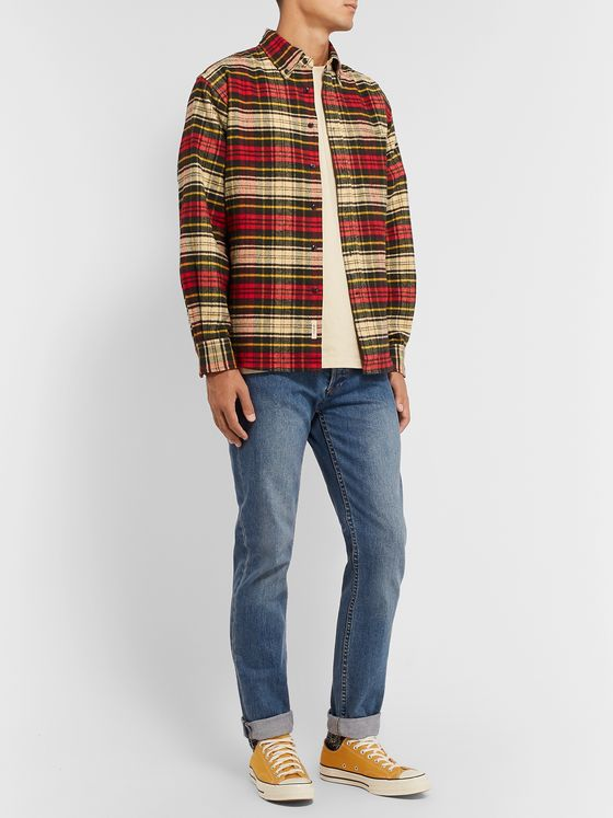 BELLEROSE Gibbs Button-Down Collar Checked Cotton-Flannel Shirt