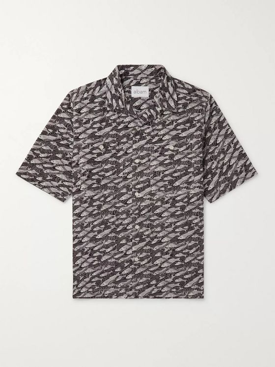 Albam Camp-Collar Printed Cotton Shirt