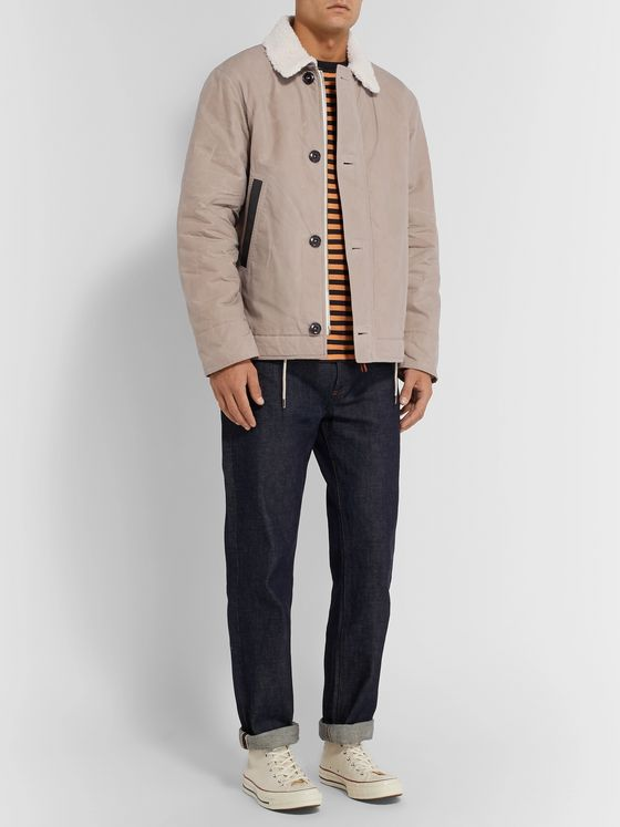 Albam Faux Shearling-Lined Leather-Trimmed Cotton Jacket