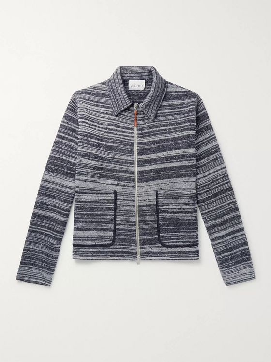 Albam Striped Mélange Wool Zip-Up Sweater