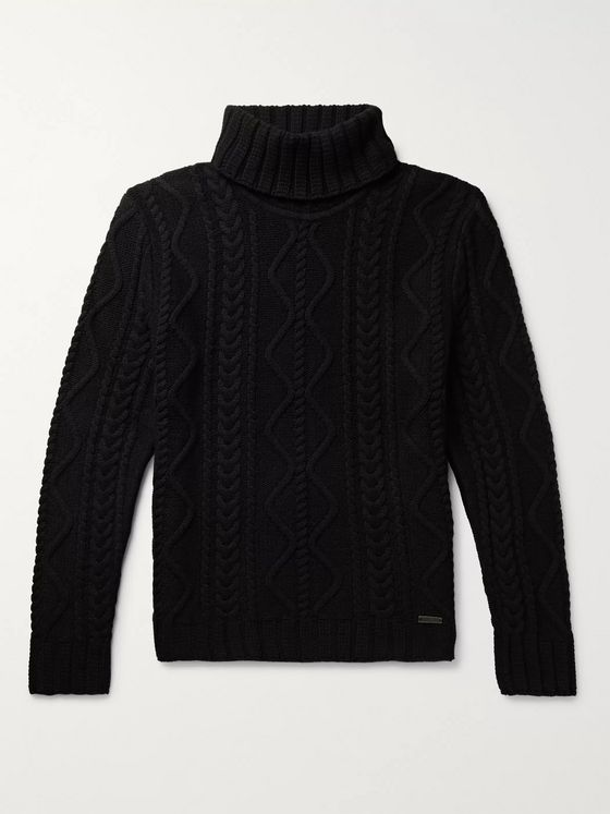 Belstaff Slim-Fit Cable-Knit Rollneck Sweater