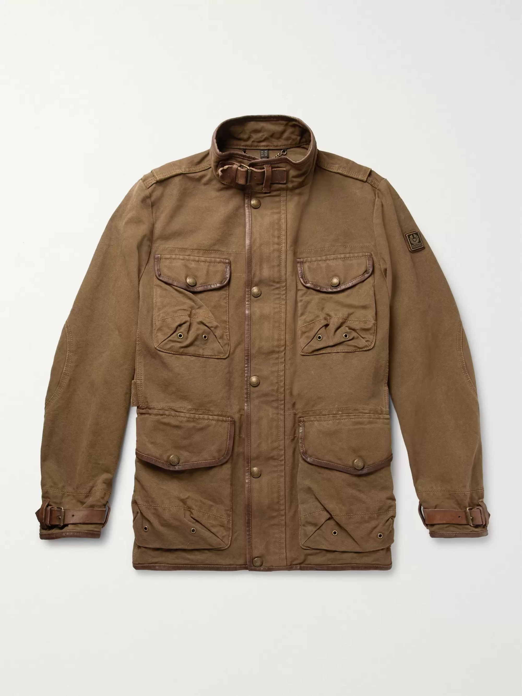 Belstaff Leather-Trimmed Cotton-Canvas Field Jacket