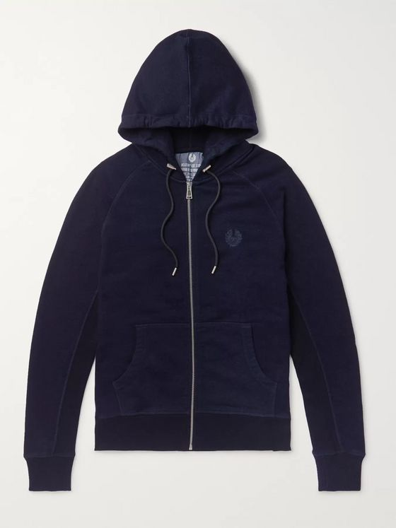 Belstaff Churchstow Loopback Cotton-Blend Jersey Zip-Up Hoodie