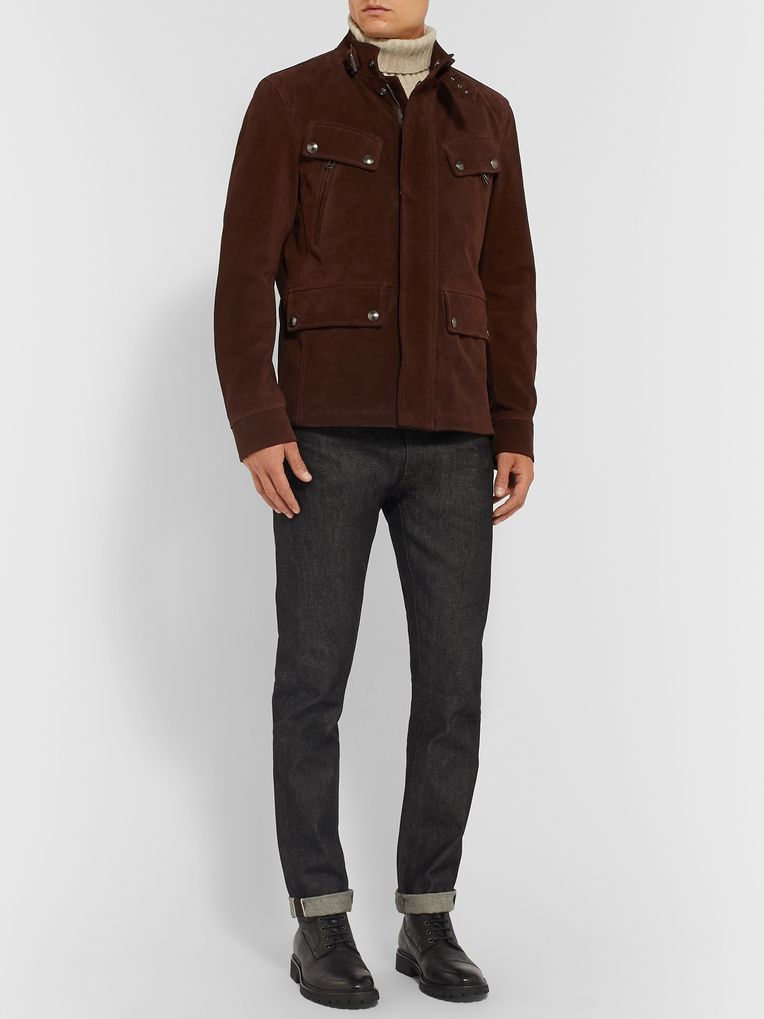 Belstaff Slim-Fit Suede Biker Jacket