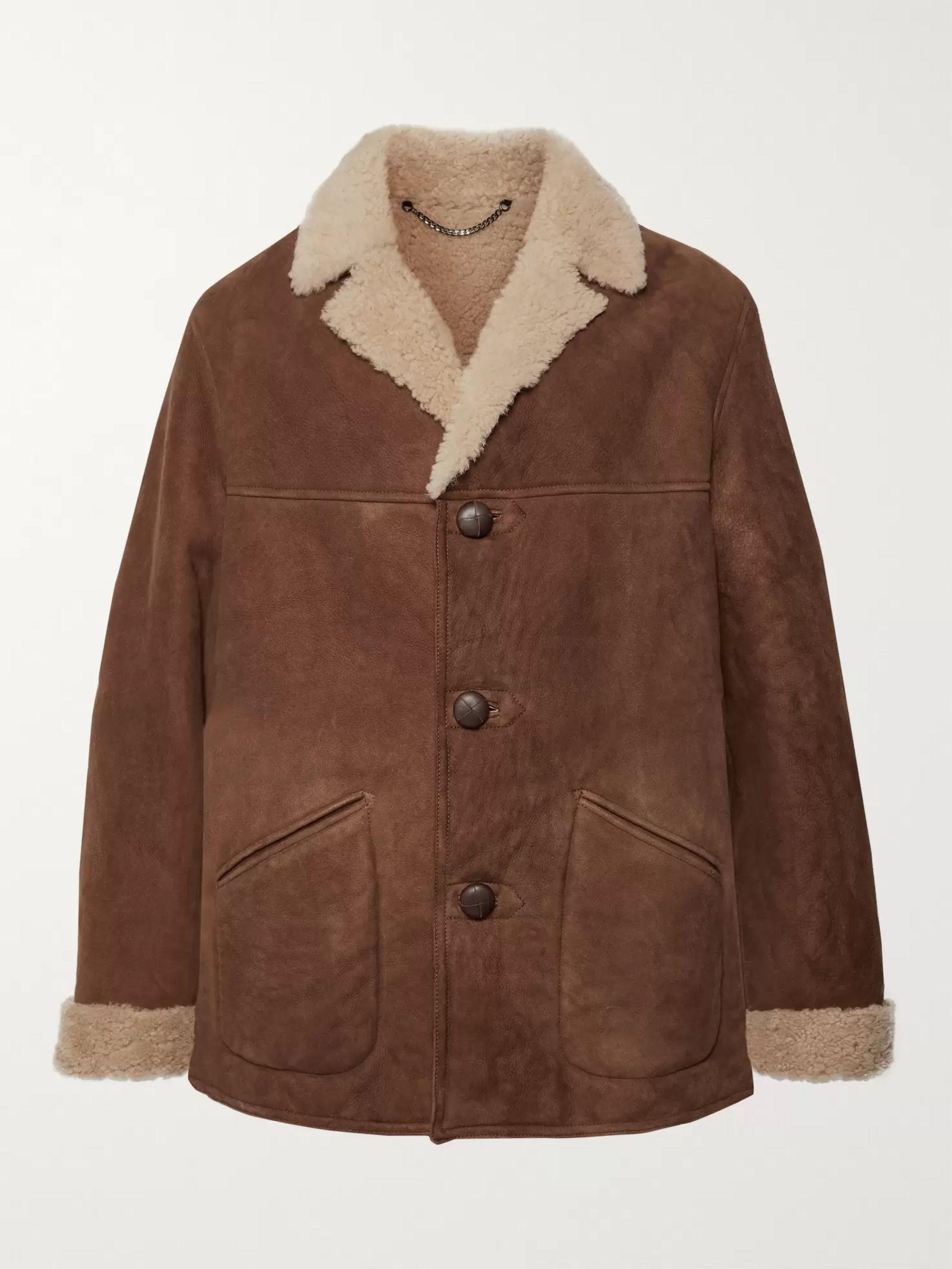 Belstaff Leather-Trimmed Shearling Coat