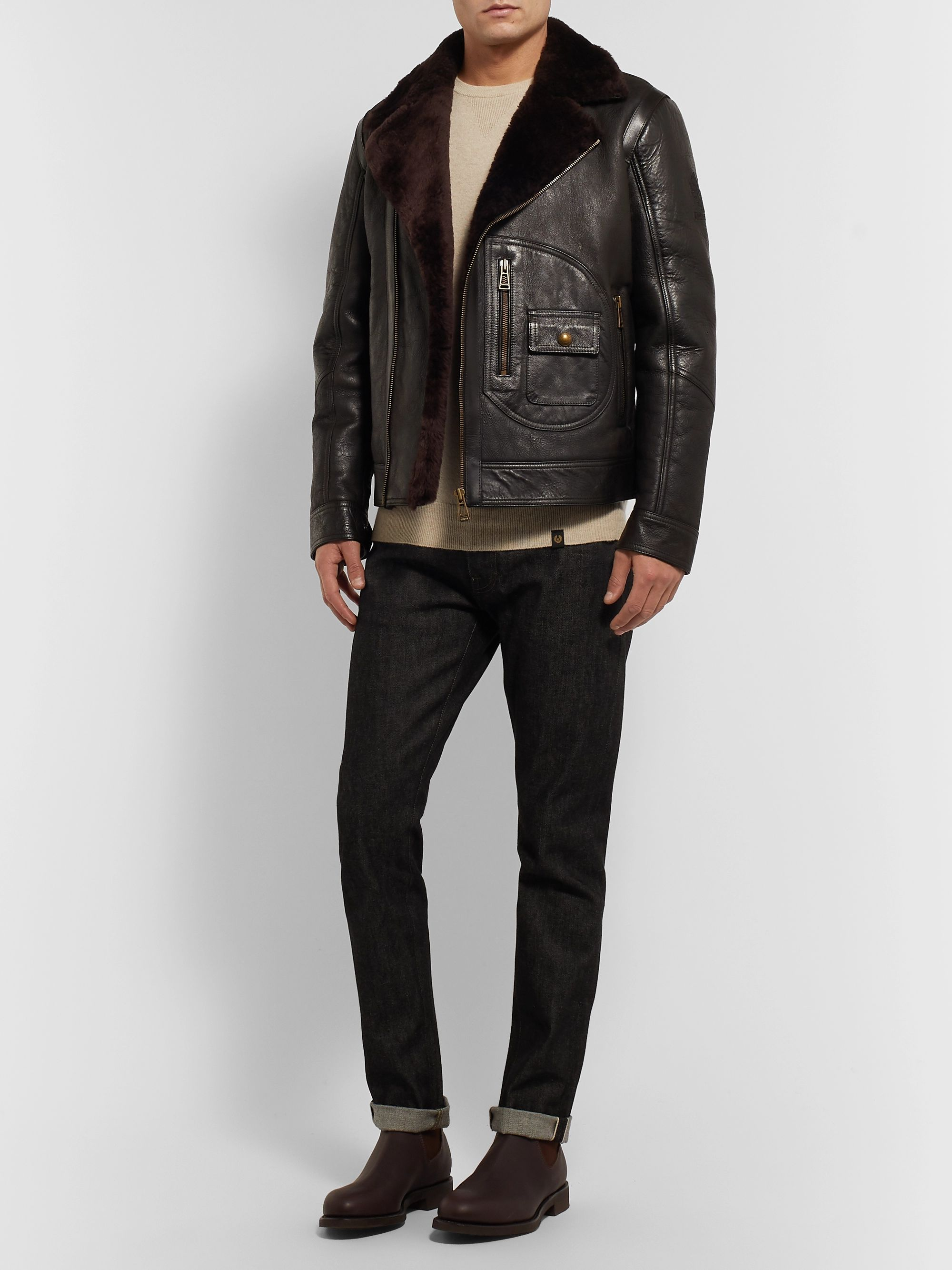 official site available elegant shoes Danescroft Slim-Fit Shearling-Lined Leather Jacket