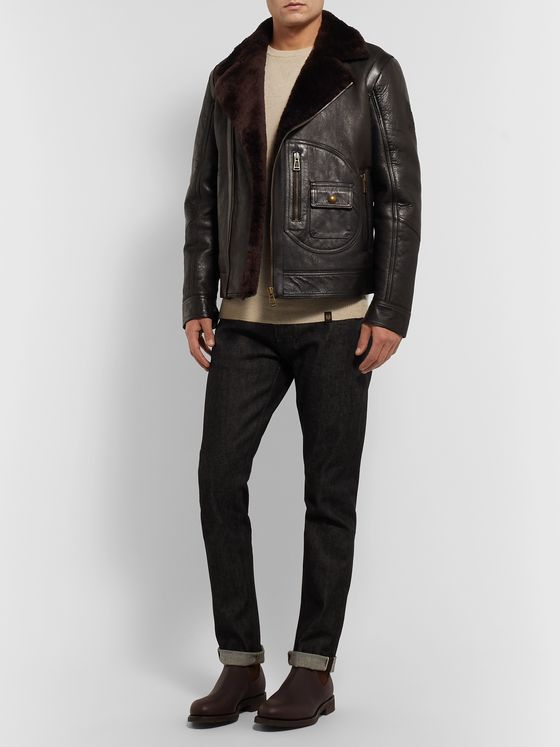 Belstaff Danescroft Slim-Fit Shearling-Lined Leather Jacket