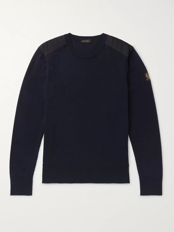 Belstaff Kerrigan Slim-Fit Shell-Trimmed Wool Sweater