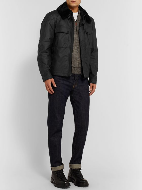 Belstaff Patrol Shearling-Trimmed Waxed-Cotton Jacket