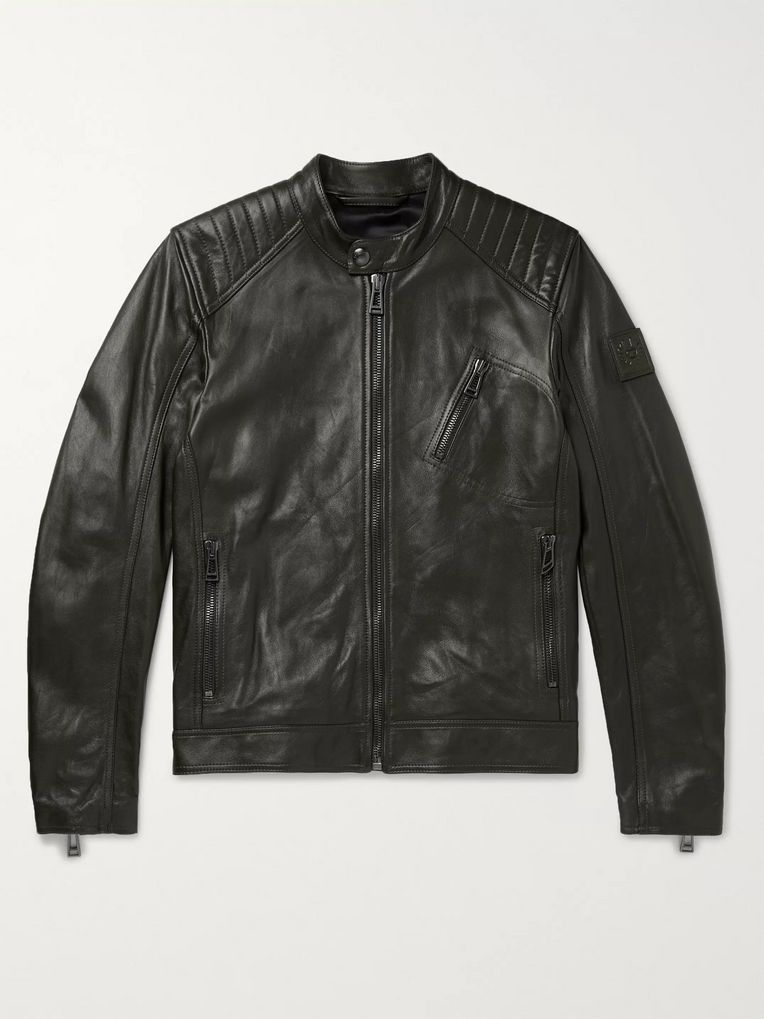 Belstaff V Racer Slim-Fit Leather Biker Jacket