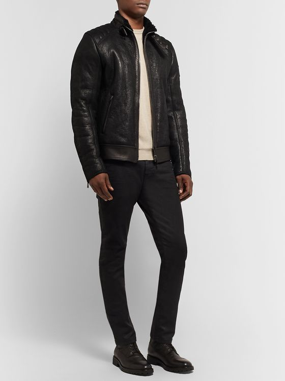Belstaff Westlake 2.0 Slim-Fit Leather-Trimmed Shearling Biker Jacket