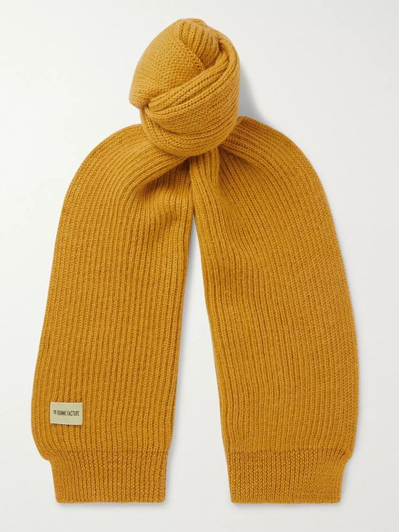 De Bonne Facture Ribbed Wool and Alpaca-Blend Scarf