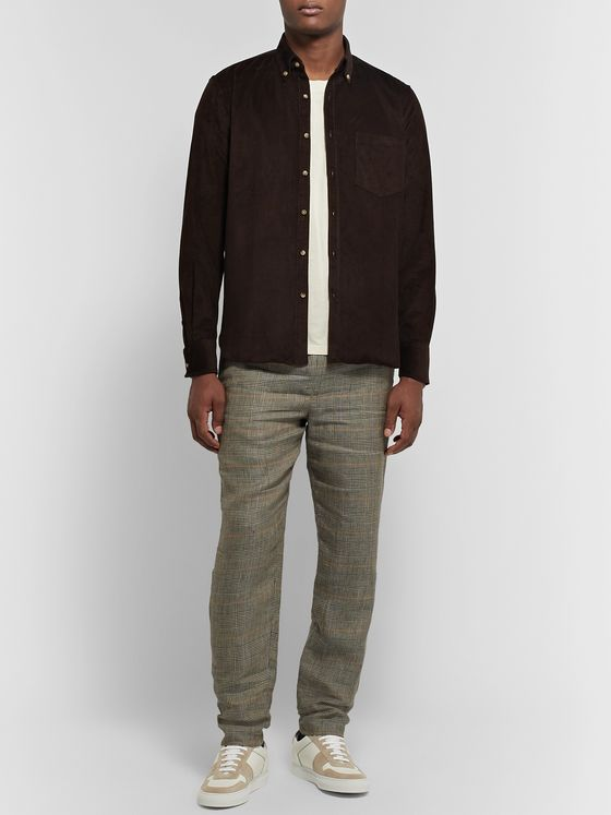 De Bonne Facture Button-Down Collar Cotton-Corduroy Shirt