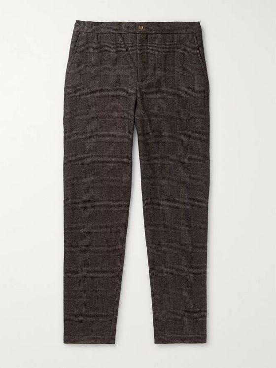 De Bonne Facture Brown Prince of Wales Checked Brushed Virgin Wool and Cotton-Blend Drawstring Trousers