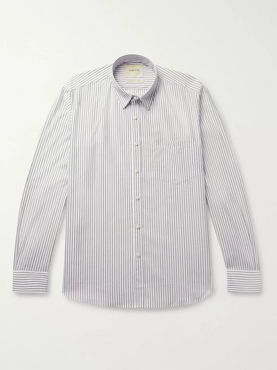 De Bonne Facture Slim-Fit Striped Cotton-Poplin Shirt