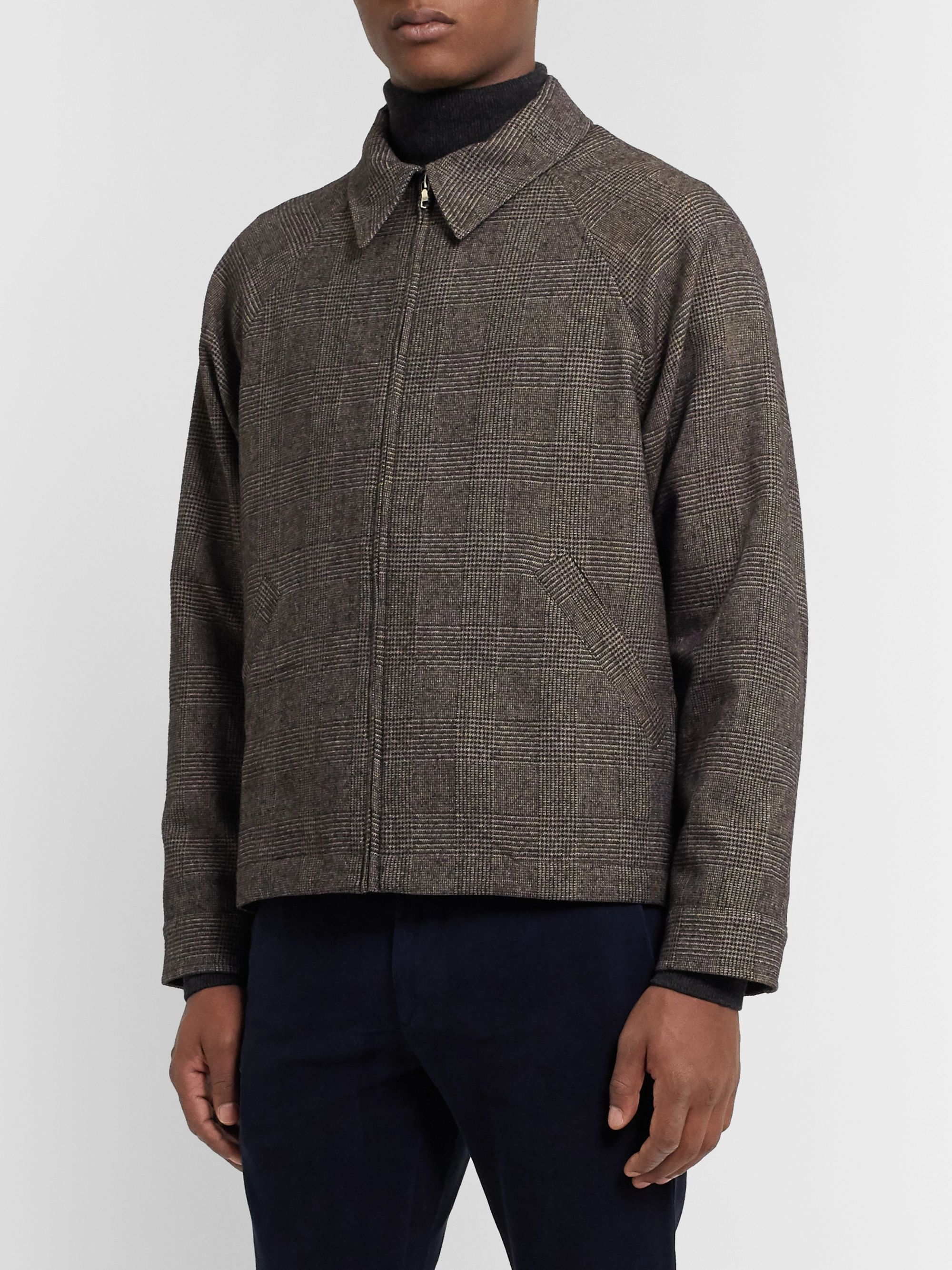 De Bonne Facture Prince of Wales Checked Virgin Wool and Cotton-Blend Jacket
