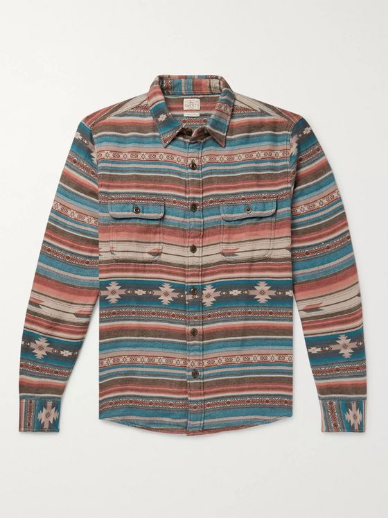 Faherty Canyon Organic Cotton-Flannel Jacquard Overshirt
